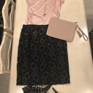 Bisou Bisou Faux Leather Pencil Skirt
